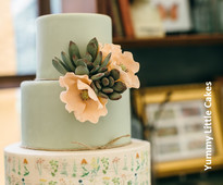 Succulent wedding cake by Yummy Little Cakes from www.cakesandsugarcraft.com