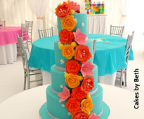 Tropical wedding cake by Cakes by Beth from www.cakesandsugarcraft.com